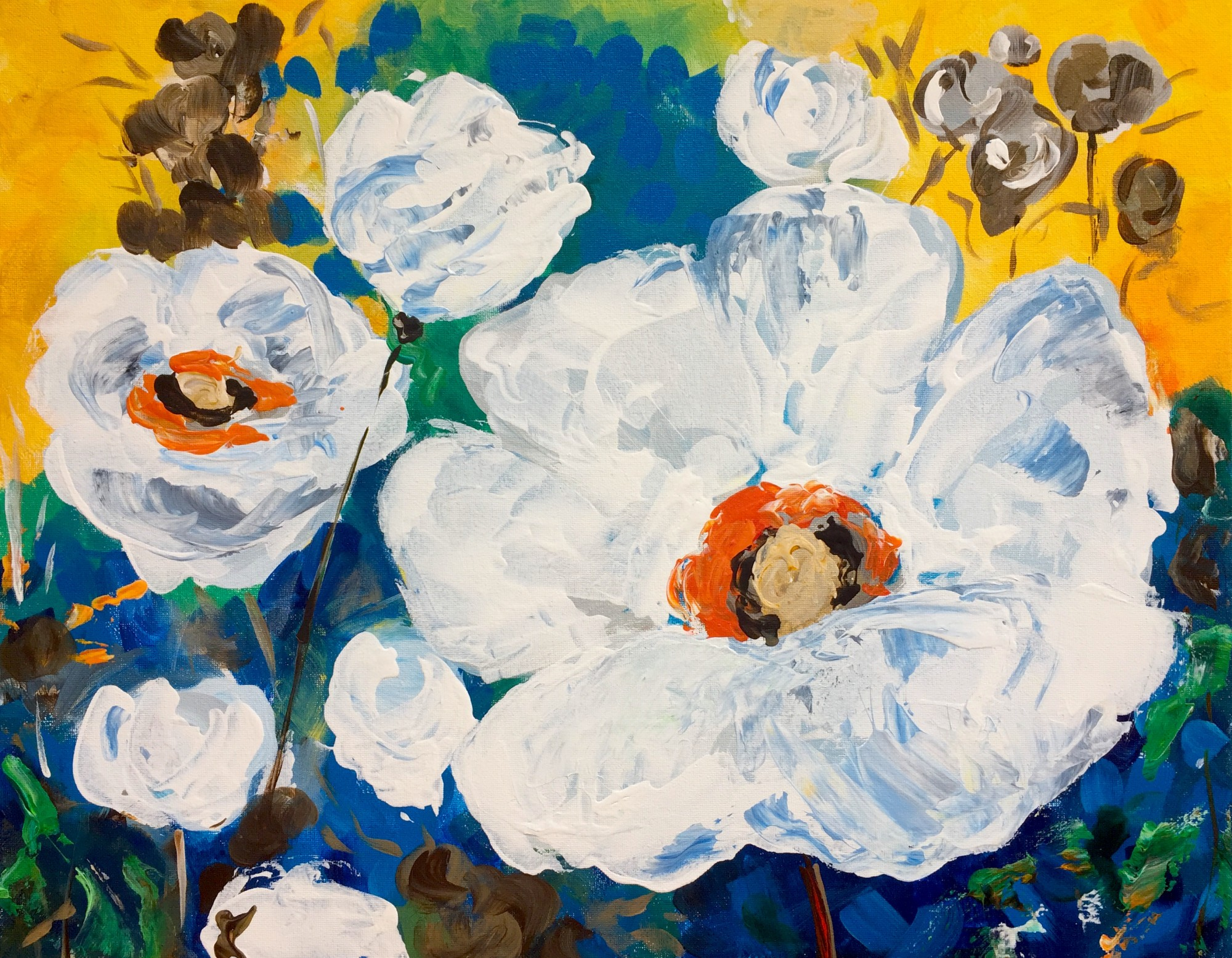 Bold  Blossoms *NEW* Winedown Wednesday $25 class!