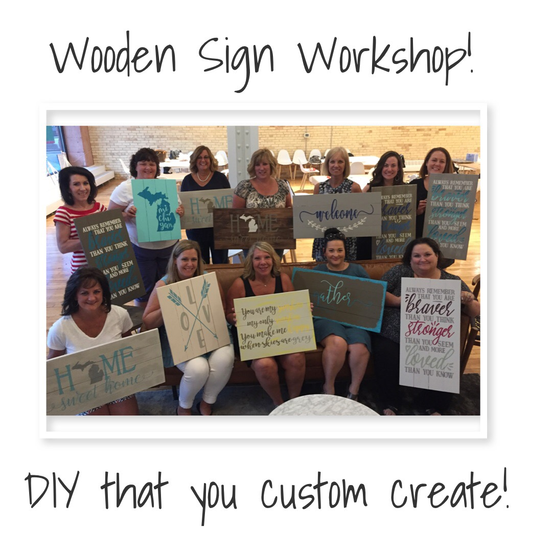 Wooden Sign Class at Brush Studio - Downtown GR